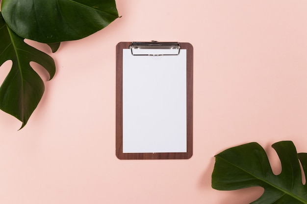 Mock up workspace empty clipboard with tropical palm leaf on pink background