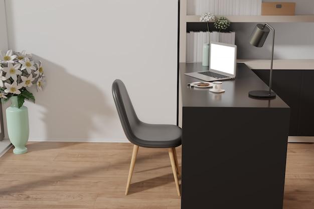 Макет рабочей области с ноутбука на столе. 3d-рендеринг.