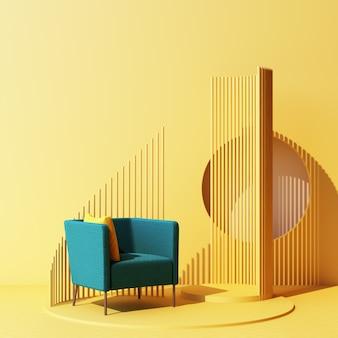 Макет желтой абстрактной студийной моды минимальной геометрической формы с зеленым креслом на платформе подиума. 3d рендеринг