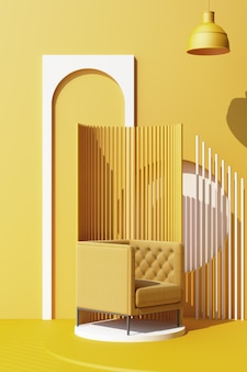 Mock up yellow abstract studio fashion minimal geometric shape trend with yellow armchair on podium platform. 3d rendering vertical frame
