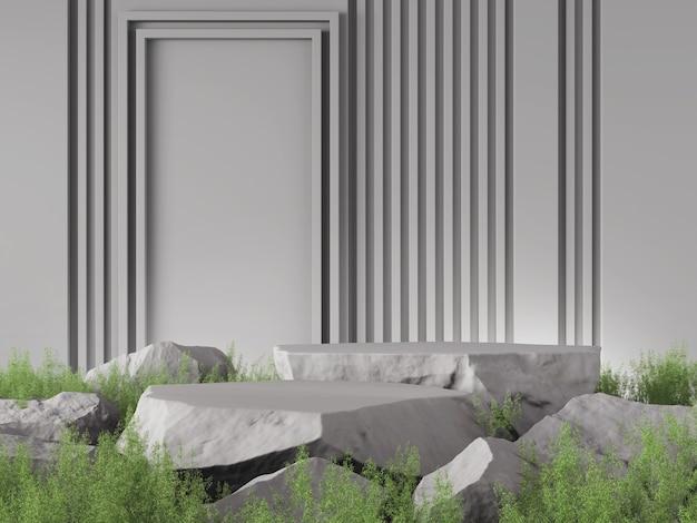 Макет 3d фон серый камень цвет концепция 3d рендеринг