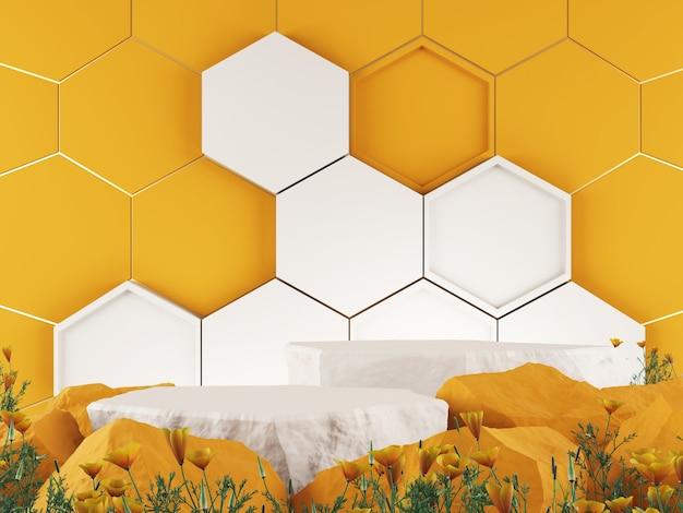 Макет 3d фон шестиугольный узор медовый цветовой тон концепция 3d-рендеринг