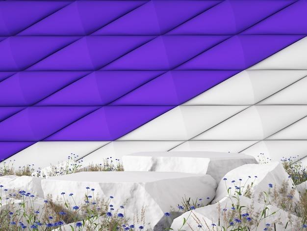 모형 3d 그래픽 배경 바이올렛 화이트 색상 개념 3d 렌더링