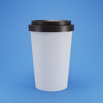 Макет 3d белая кофейная чашка с черной крышкой на синем фоне