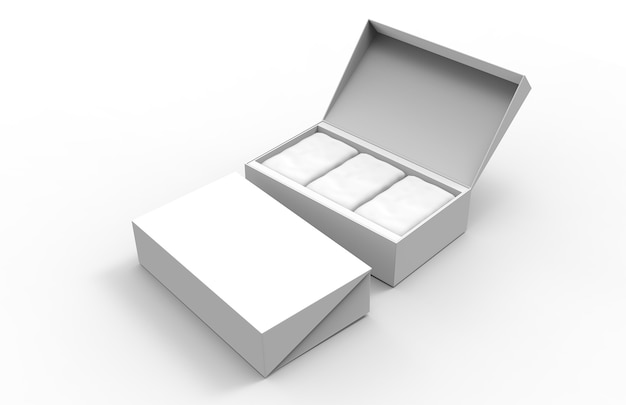 Mockup 3d with coffee or tea two blank packaging boxes