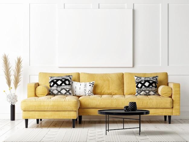 포스터 모형, 스칸디나비아 디자인 거실의 노란색 소파, 흰색 배경, 3d 렌더링, 3d 일러스트