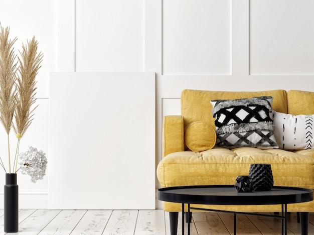 Мокап плаката, желтый диван в гостиной скандинавского дизайна, белый фон, 3d визуализация, 3d иллюстрация