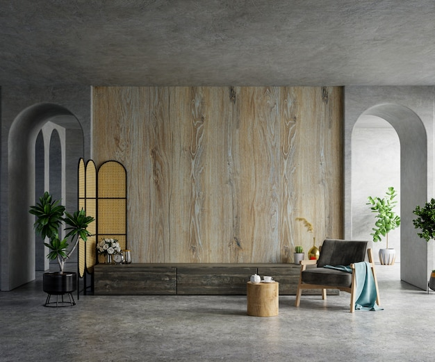 나무 벽이있는 시멘트 방에 장착 된 tv 벽 모형 3d 렌더링