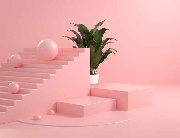 Mockup abstract pink primitve shape square podium with plant background 3d render