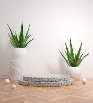 Mockup aloe vera step podium black marble on wooden floor 3d render