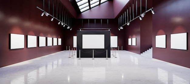 Mockup of art gallery museum full of white paintings with spotlights and sunroof