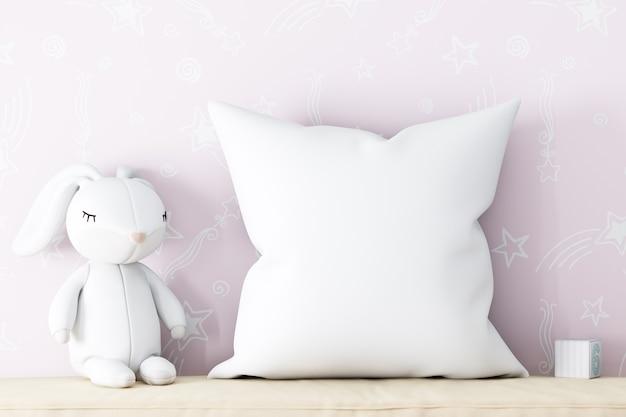 Макет детской подушки на розовом фоне