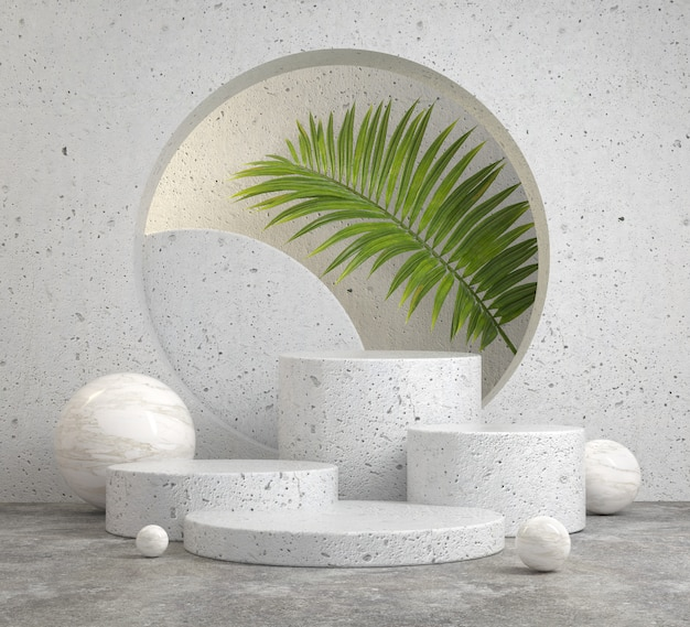 Mockup background abstract white stone podium set on concrete floor and palm leaves plant 3d render