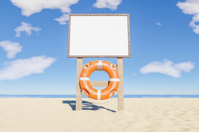 Mockup del segno delle regole della spiaggia con il salvagente appeso