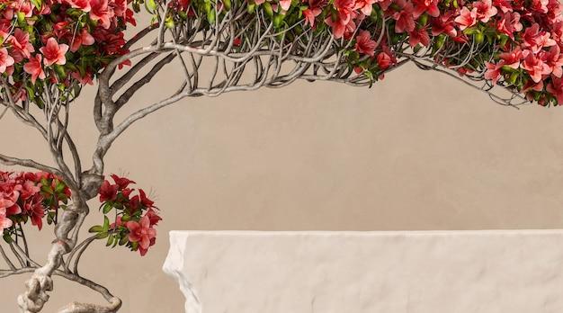 분재 꽃 배경에 베이지색 돌 연단 모형