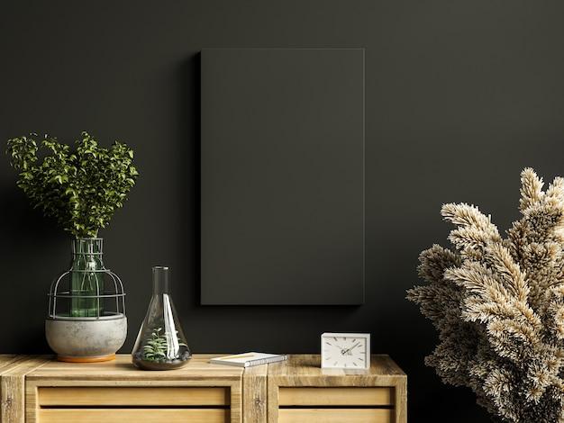 Mockup black frame on cabinet in living room interior on empty dark wall.3d rendering
