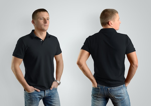 Mockup  black polo shirt on strong man on gray background. template for presentation of clothes. front view and back.