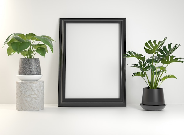 Mockup black poster frame with plants on white wall 3d render