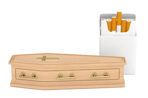 Mockup blank cigarettes pack near wooden coffin with golden cross and handles on a white background. 3d rendering