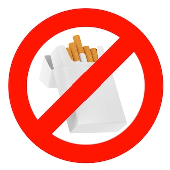 Mockup blank cigarettes pack with prohibition sign on a white background. 3d rendering