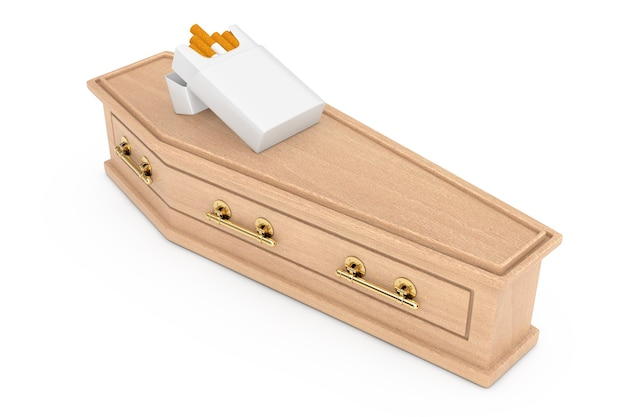 Mockup blank cigarettes pack over wooden coffin with golden cross and handles on a white background. 3d rendering