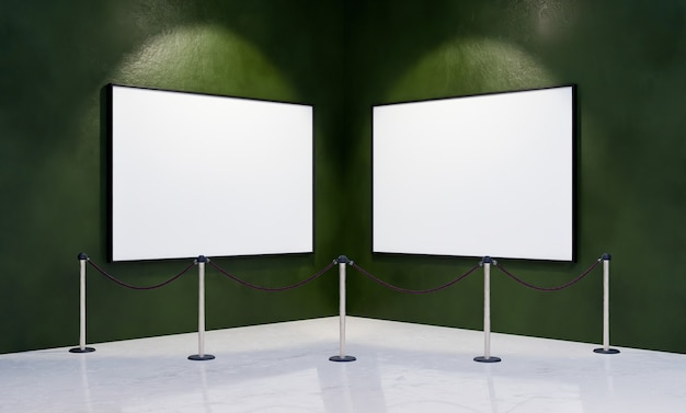 Mockup of blank frames in the corner of a museum with security barrier