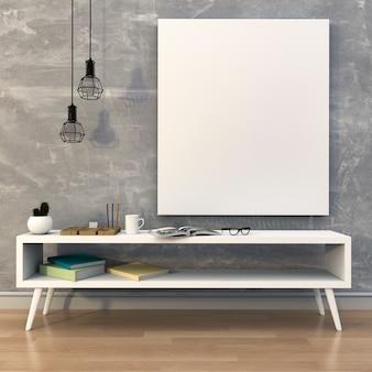 Макет пустой плакат с столом и книгами. 3d рендеринг