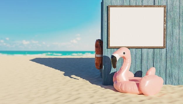 Mockup of blank signage panel in a wooden hut on the beach with flamingo float underneath and the sea in the background