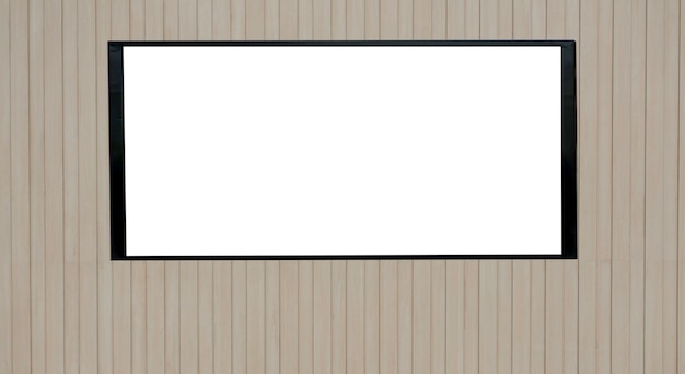 Mockup blank white screen on a wooden surface