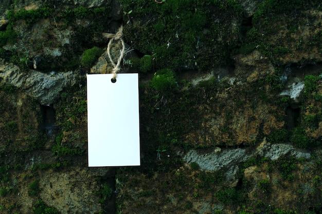 Макет пустой белый шаблон на веревке на фоне старой кирпичной стены, заросшей мхом