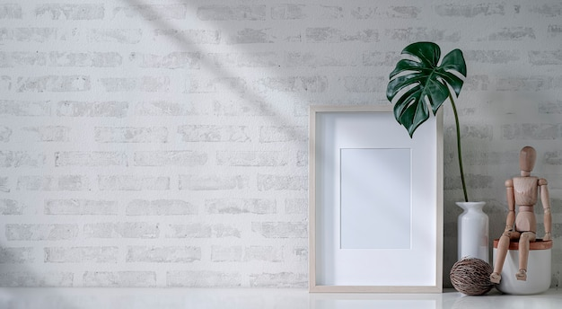 Mockup blank wooden picture frame on white table with brick wall.