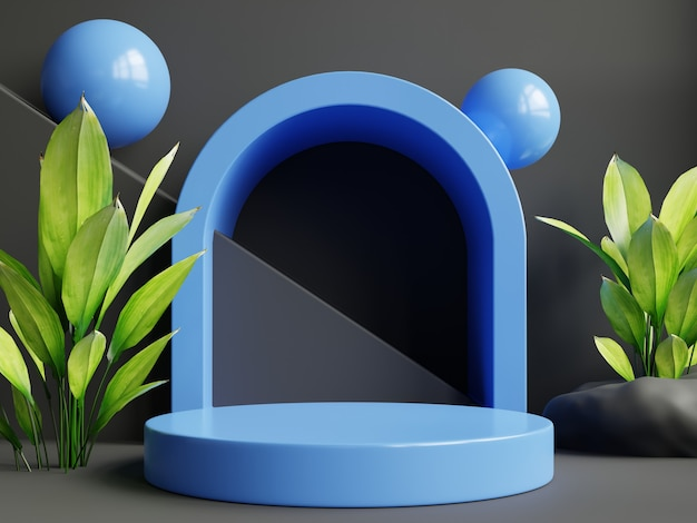 Mockup of a blue podium with a product presentation.3d rendering