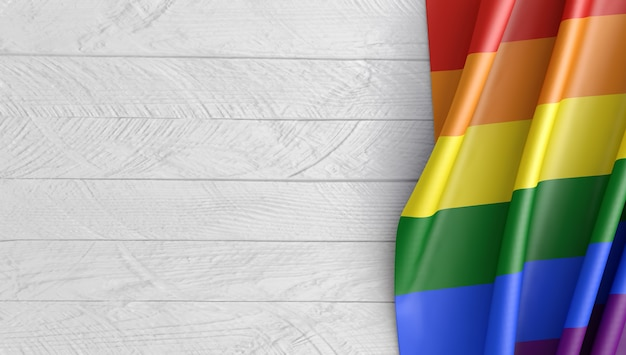Mockup of boards and the lgbt flag. 3d render.
