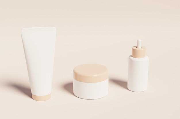 Mockup bottle, tube and jar for cosmetics products on beige surface