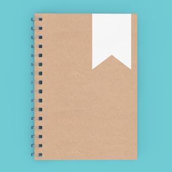 Mockup brown spiral notepad on a blue background 3d rendering