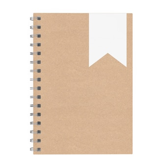 Mockup brown spiral notepad on a white background 3d rendering
