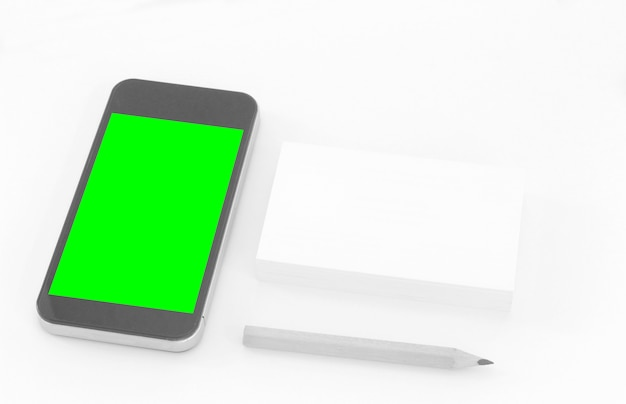 Mockup of business cards with smart phone