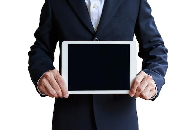 Mockup of businessman holding digital tablet