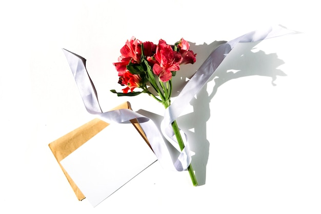 Mockup cards and flowers on a white background