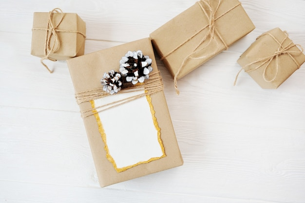 Mockup christmas background of gifts with place for your text. flat lay, top view photo mock up.