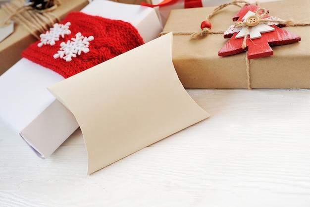 Mockup christmas composition on white  with christmas tree