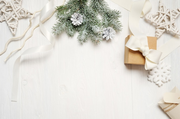 Mockup christmas or new year frame composition with space for your text