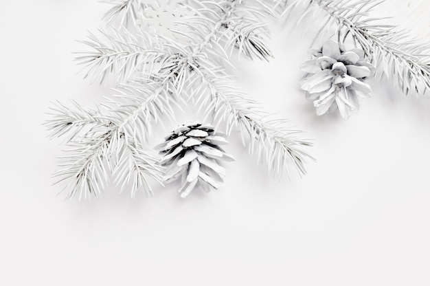 Mockup christmas white tree and cone