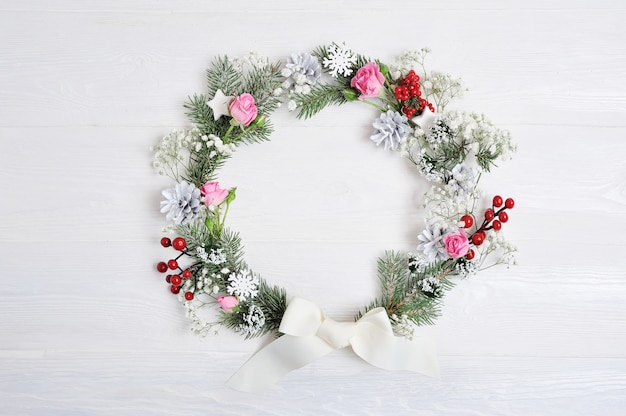 Mockup christmas wreath in rustic style with copyspace, flat lay