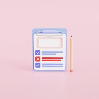 모형. 종이 배경의 체크리스트 시트가 있는 클립보드와 연필. 아이콘 디자인에. 3d 그림입니다.