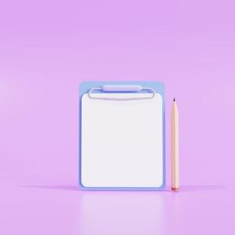 모형. 누드 배경에 종이가 있는 클립보드와 연필. 보라색 배경 디자인에. 3d 그림입니다.