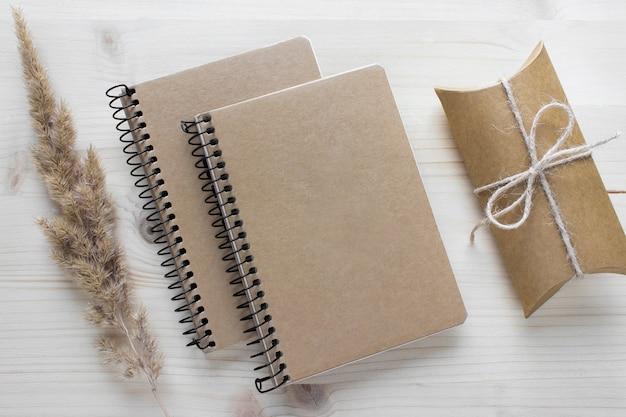 Mockup composition with two spiral notebooks with kraft paper covers, gift present and fluffy dry plant