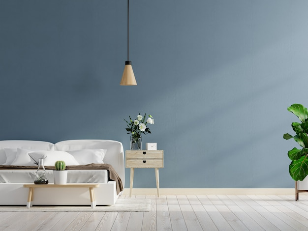 Mockup dark blue wall in bedroom interior background,3d rendering