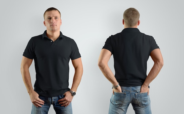 Mockup  for the design of clothes black  polo shirt. male model, front view and back. template can be used for your showcase.