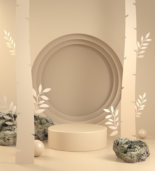 Mockup display with beige paper art forest concept abstract background 3d render